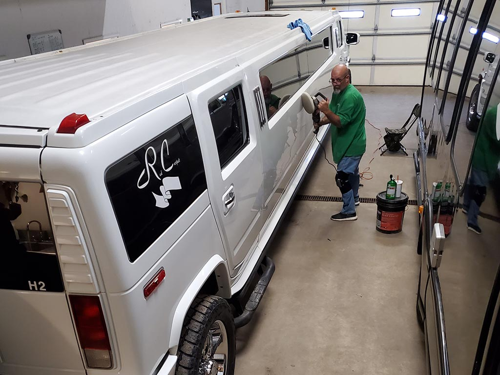 Waxing Hummer Limo at Red Carpet Limo
